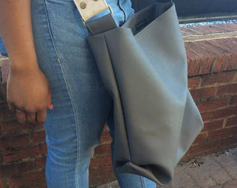 Grey Faux Leather Large Shoulder Crossbody Bag
