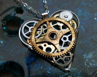 "Mechanical Heart Necklace ""Gissing"" Elegant Steampunk Heart Pendant Industrial Organic Clockwork Love Gift Wife Girlfriend Gershenson-Gates"