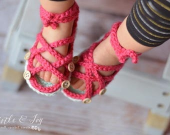 Baby Button Gladiator Sandals Crochet Pattern PDF DOWNLOAD