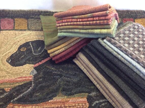 "Rug Hooking WOOL PACK for Burnie the Labrador, 24"" x 32"", WP208, Black Labrador Rug Hooking Design"