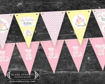 Baby Bird Christening, Baptism Bunting Flags party decorations. Turquoise Blue or Pink & lemon yellow. Printable. DIY print at home.