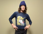 vintage 70s unicorn sweatshirt fantasy jumper horse flower 1970 XS/S crop