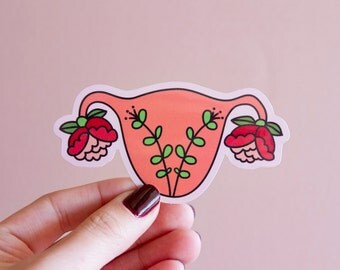Feminist Uterus Sticker Blooming Uterus- Illustrated Women's Rights Reproductive Rights Weatherproof Decal Bumper Sticker