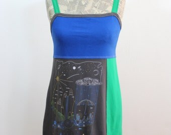 Water Cycle Upcycled Cotton Dress, size 4-6