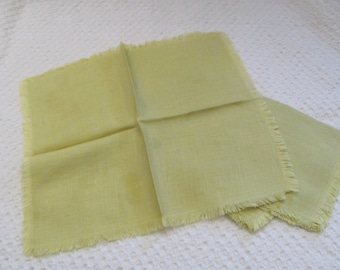 "Set of 4 Vintage Solid Green Linen Napkins 11"" x 13""  Inch"