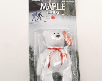 Vintage Maple Bear TY Beanie Baby Patriotic Flag White Teddy McDonald Happy Meal Toys Kids Happy Meal Canada Canadian Red White Ice Hockey