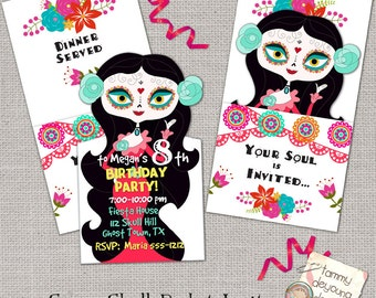 Sugar Skull Party Invitation, Printable Birthday Party Invite, Day of the Dead, Girls Birthday invitation, Kids Birthday Party Announcement
