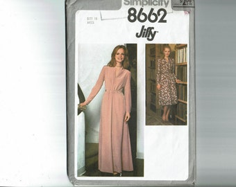 70s Jiffy Dress Pattern Long Evening Maxi Dress Size 16 Bust 38 1970s Sewing Pattern Simplicity 8662