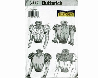 Steampunk Blouses Bust 34 36 38 Sizes 12 14 16 Uncut Sewing Pattern Making History Butterick 3417 detachable collar blouse sash OOP