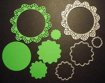 Fustella 5 pz cornice fiore cerchi Fustellato in Cartoncino. Ideale per decorazioni o scrapbooking.