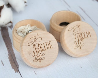 Engraved Bride and Groom Ring Box Set Keepsake Ring Box Engraved Rustic Wedding Ring Box