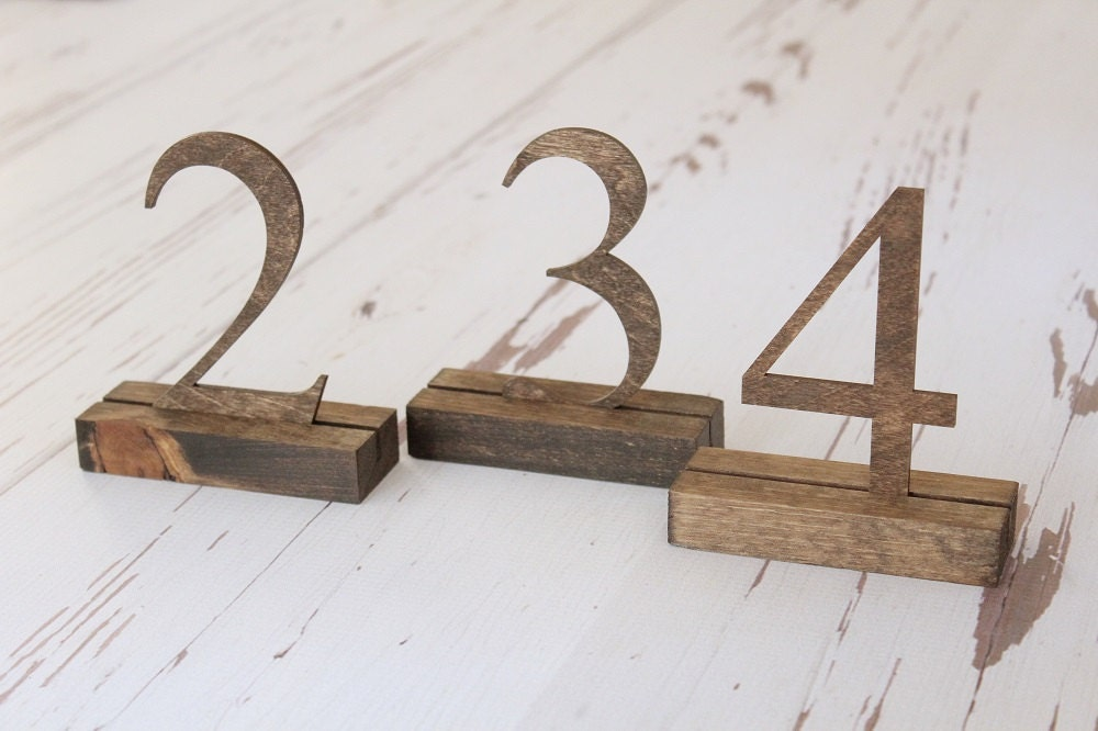 Rustic Table Numbers Wedding Freestanding Downintheboondocks