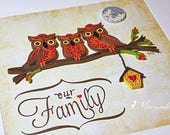 Paper Quilling Owl Family on a branch Framed Wall Art  | Our Family Wall Art with Quilled Owls and Birdhouse | New Home | Reserved for Deepa