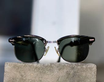Beautiful horn rim woodgrain Ronsir Revelation Clubmaster sunglasses - Unisex and lovely - USA made by Shuron