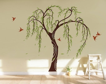 Willow Tree with Flying Swallows - Tree Wall Decal, Spring Tree Wall Stickers, Nature Tree Decal, Home Tree Wall Stickers pt0295