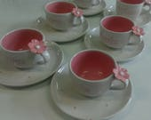 8 Pretty in pink Personalized Tea cup & Saucer 6oz