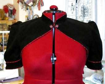 black needlecord fitted shrug with red tartan piping and lining plus size  - UK seller