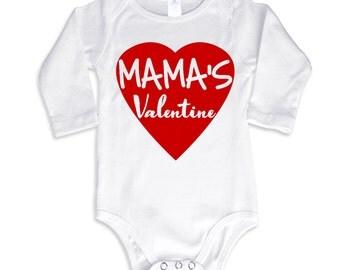 Mama's Valentine Long Sleeve Baby bodysuit