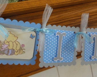 Classic Pooh It's A Boy Banner, Pooh Baby Shower Banner, Blue and Gray Baby Pooh Banner, Matching Tissue Pom Poms Available