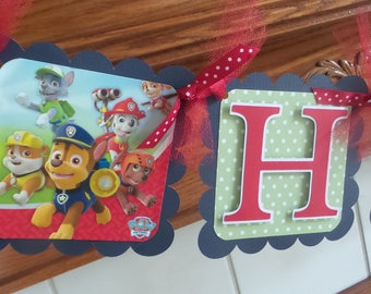 Paws Patrol Happy Birthday Banner, Paws Patrol Birthday Banner, Paws Patrol Birthday Decorations