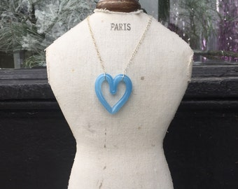Sky Blue Glass Heart Necklace