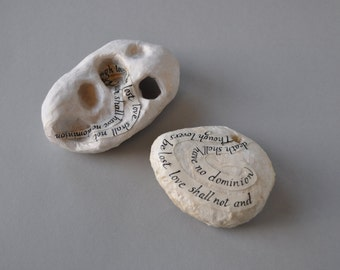 And Death Shall Have no Dominion Dylan Thomas collage on stone - poetry stones, desk ornaments, home study decor