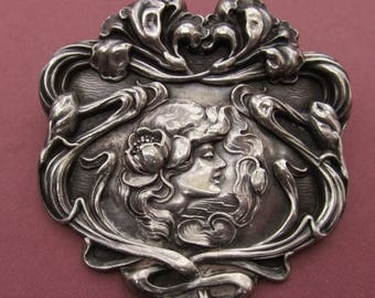 On Sale Art Nouveau Sterling Silver Brooch Unger Brothers Lady With Flowers Antique Pin Jewelry