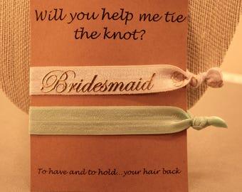 Bridesmaid Hair Ties: Foldover Elastic Hair Hairs, Set of 2, Colour Choice, Bridesmaid Gift, Wedding Party, Tie the Knot