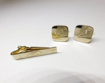 Vintage Men's Shields Gold Tone Shooting Star 1960's Cuff Links and Tie Clip