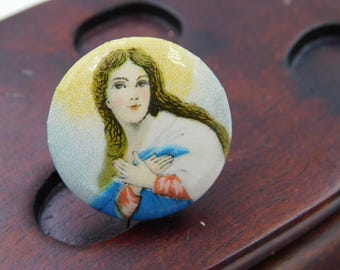 Antique Catholic Pin Pinback Button With Virgin Mary     Dr32