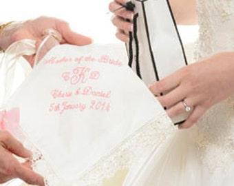 Lace Handkerchief Wedding for Mom of Bride Gift | Mother of the Bride Wedding Handkerchief | Personalized Wedding Hanky