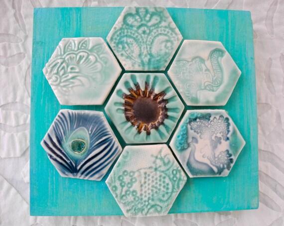 Hexagon Tile wall art, Ceramic Wall Art, India Decor, Boho Art Tile, Elephant Peacock art, Hex tile, Turquoise wall art, Lace pottery art