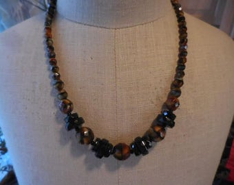 Vintage 1940s to 1950s Black Orange/Black/Brown Faceted Glass Beaded Necklace Multicolored Beads