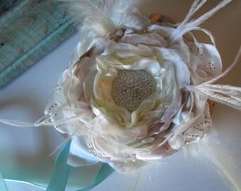 Flower corsage blush ivory champagne aqua Beach corsage Prom Homecoming flower corsage Wedding flower corsage Flower accessory Ivory flower