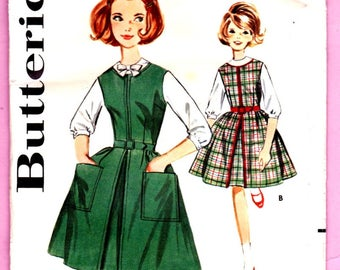 """Butterick 2444 Girls Jumper and Blouse Two Styles Vintage Size 12 Chest 30"""" Uncut"""