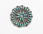 Vintage 30s Brooch - STERLING + Turquoise Navajo Native 1930s