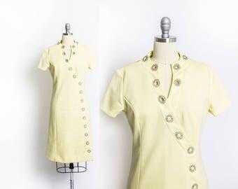 Vintage 1960s Dress - Lemon Yellow Rhinestone A-Line cocktail Party Mod Dress - Medium