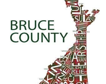 Typographic Map of Bruce County, Ontario