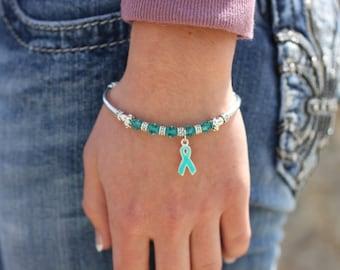 Ovarian Cancer Teal Awareness Charm Bracelet: Anti-Bullying, PTSD, Cervical Cancer, Myasthenia Gravis, Anxiety, Cervical Cancer, Batten,