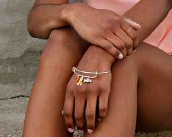 Orange Awareness Ribbon Bangle Charm Bracelet: Leukemia cancer, Multiple Sclerosis (MS), Kidney & Spinal Cancer, Kidney Disease, RSDS