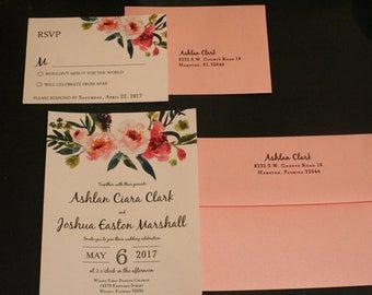 Wedding Invitation Set, ASHLAN, Floral, Christian, Vintage, French, Watercolor Flowers, Shabby Chic, BoHo, Rustic, Custom, Flat Panel, Suite