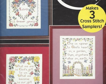 "1990s Stamped Cross Stitch Samplers 3 Samplers Bucilla Stamped Cross Stitch Kit 64182 Finished Size 8"" x 10"" Each Inspirational Samplers NIP"