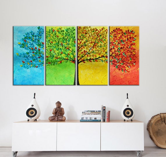 Large Tree Abstract Painting , Modern Large painting, 4 Panels Painting, Textured Impasto Tree Painting, seasons painting, large modern art