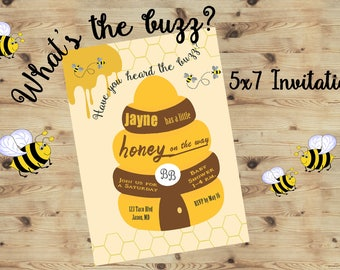 Have you heard the Buzz?Honey is on the way Invitations, Bumble Bee Invitations, what will it Bee baby shower, gender reveal Party.Set of 24
