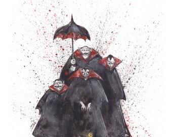 Nightmare Before Christmas Vampires Original Ink and Watercolor Painting