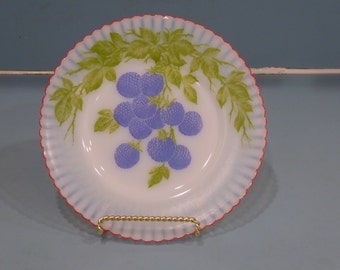 Depression Glass Petalware Salad Plate with Berries, Fired On Red Trim