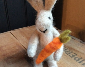 Wool Bunny Rabbit with Carrot Needle Felted