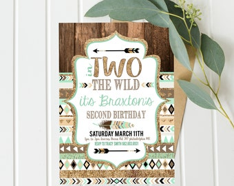 Two Wild Birthday Invites - Mint and Gold - Second 2nd Birthday Party - Instant Digital Download