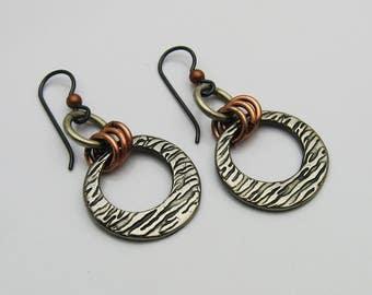 Mixed Metal Earrings, Mixed Metal Jewelry, Dangle Earrings, Silver and Copper, Gunmetal Earrings, Copper Earrings, Rustic Earrings, Niobium