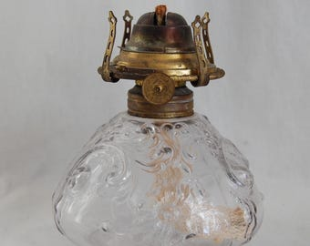 Antique Victorian Decorated EAPG Unknown Floral Pattern Oil Kerosene Lamp